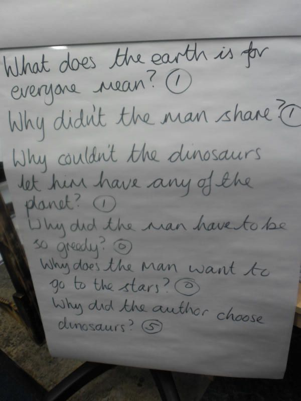 More questions-scribed by our very own Mr Goldsmith (doesn't he have nice handwriting!)